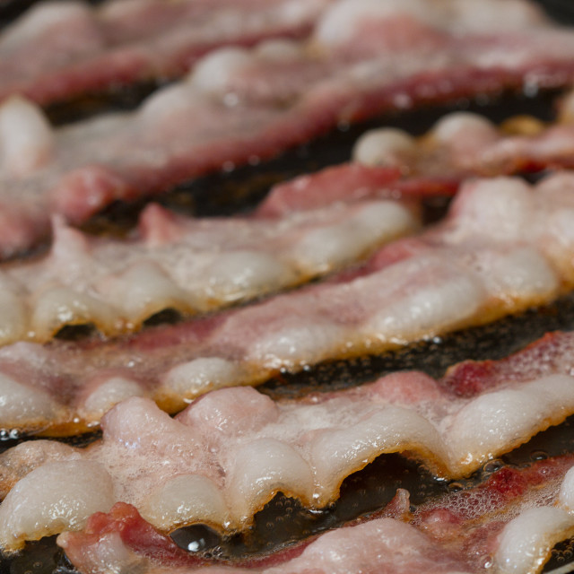 """Bacon sizzling on a griddle"" stock image"