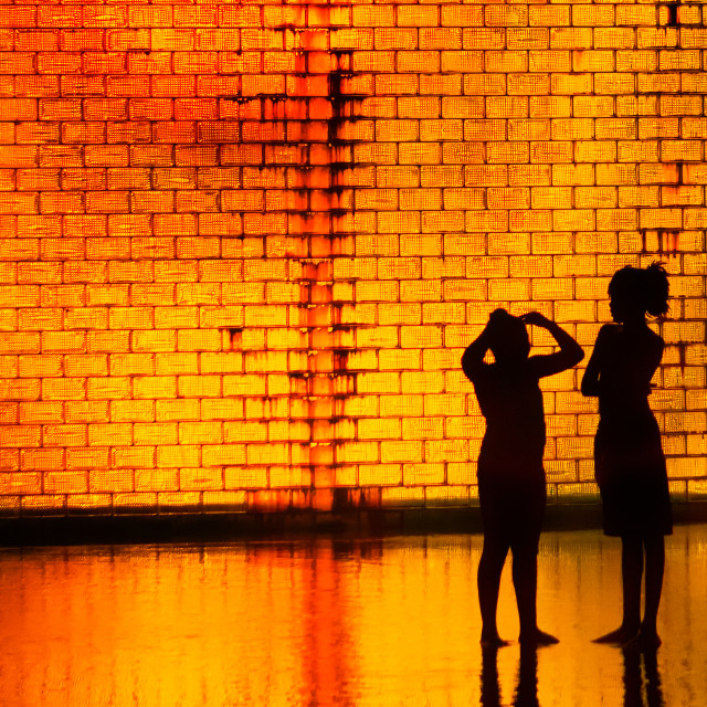 """""""Late Night Chat: Crown Fountain, Millennium Park, Chicago"""" stock image"""