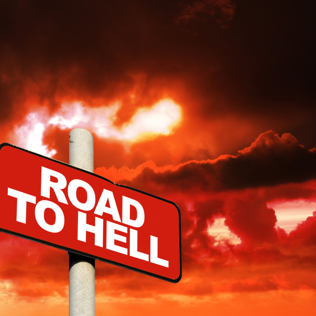 """""""Road to hell sign"""" stock image"""