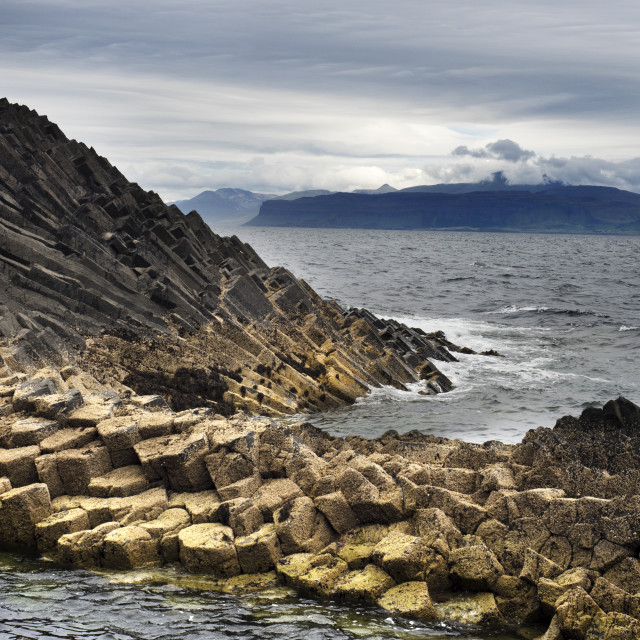 """Basalt Columns by the Shore on Staffa"" stock image"