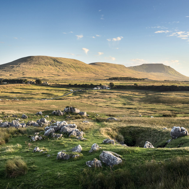 """Ingleborough at Sunset from Ribblehead"" stock image"