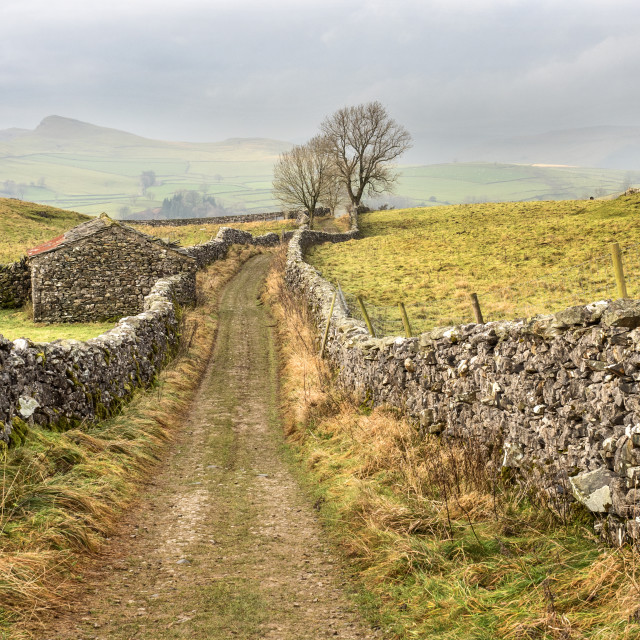 """Goat Scar Lane above Stainforth in Ribblesdale"" stock image"
