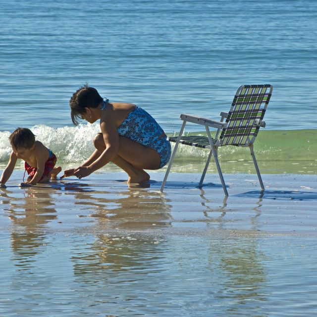 """""""Mother & Son On Beach"""" stock image"""