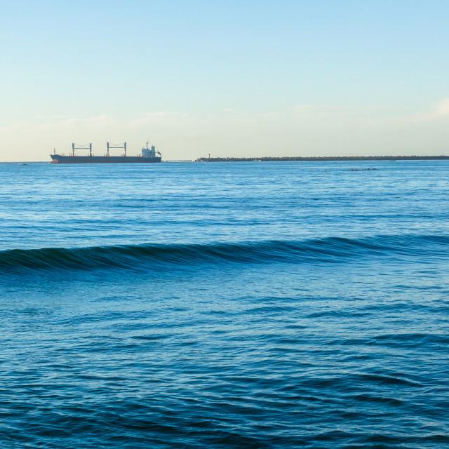 """Ship Departure Ocean Harbor Piers"" stock image"