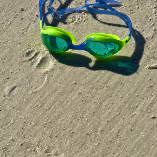 """""""Swimming Goggles On Sand"""" stock image"""