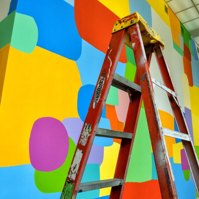 """Paint Job In Progress: MCA, Chicago"" stock image"