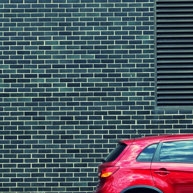 """Vibrant Sensation: Parked Car near Navy Pier, Chicago"" stock image"
