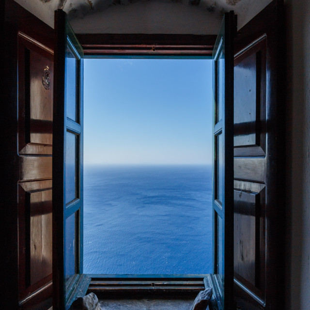 """window to unlimited blue"" stock image"