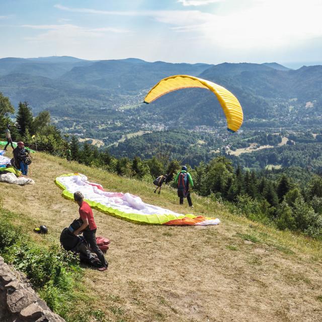 """Paragliding on Merkur Mountain"" stock image"