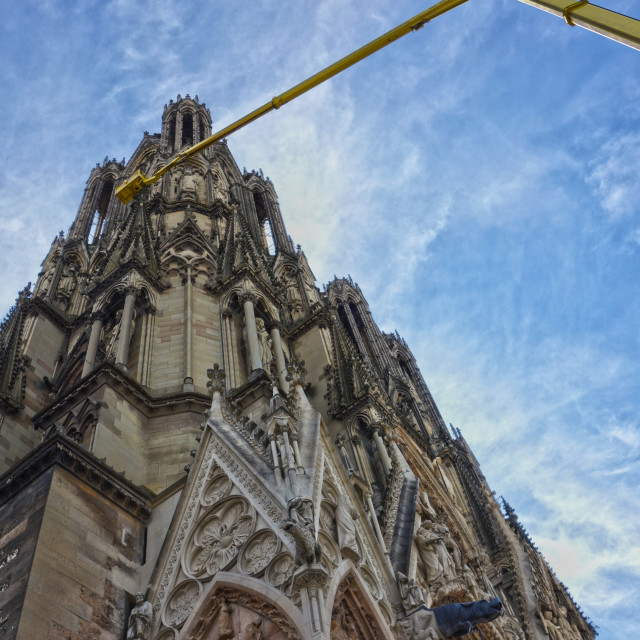 """""""Cleaning Reims Cathedral"""" stock image"""