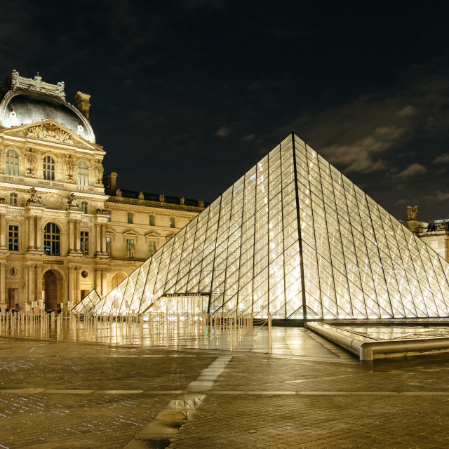 """Louvre Pyramid at night"" stock image"