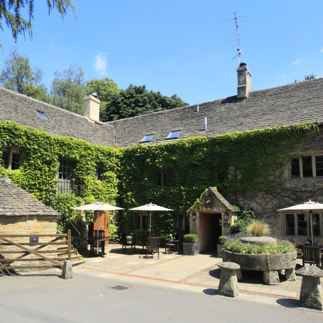 """""""The Slaughters Country Inn Hotel, Lower Slaughter village, Gloucestershire..."""" stock image"""
