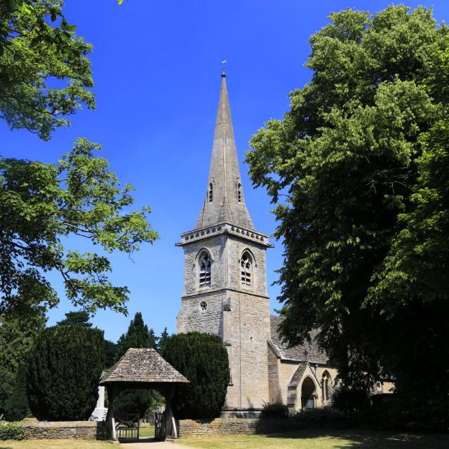 """St Marys Church, Lower Slaughter village, Gloucestershire Cotswolds, England, UK"" stock image"