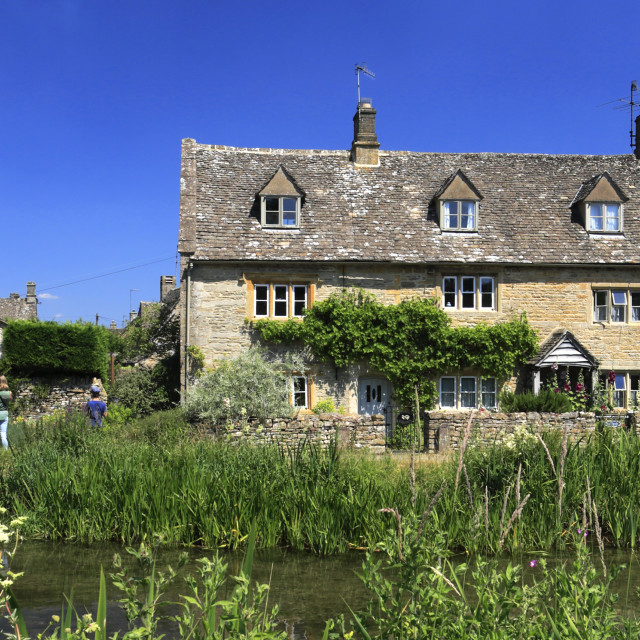 """""""Summer view over Cottages and the River Eye, Lower Slaughter village,..."""" stock image"""