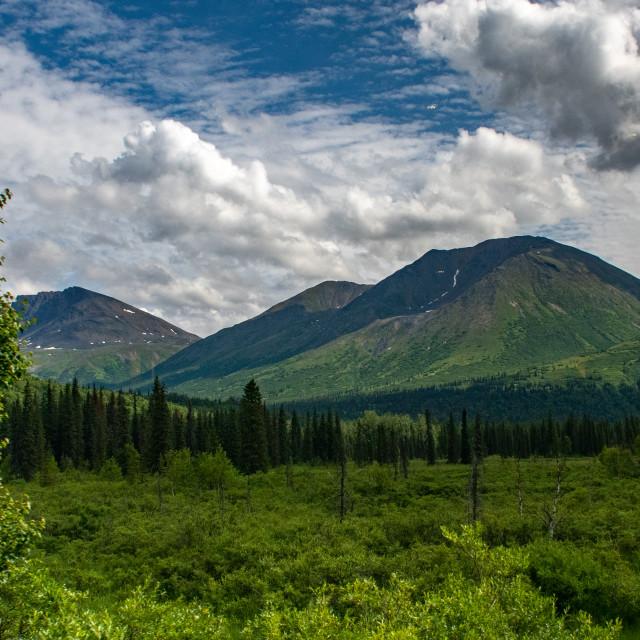 """The Alaska Mountain Range between Anchorage and Denali"" stock image"