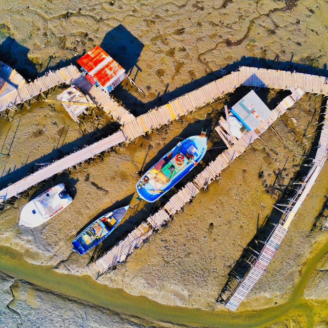 """""""Aerial view of fishing boats"""" stock image"""