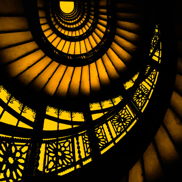 """""""The Famous Staircase: Rookery Building, Chicago"""" stock image"""