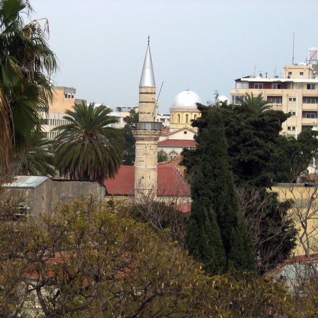 """GV View of a church and a mosque together in Limassol, Cyprus Picture Julian..."" stock image"