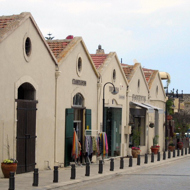 """GV view of a street with fashionable shops in Famagusta (Taken in Turkish..."" stock image"