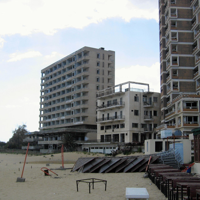 """GV view of holiday resort Famagusta showing UN Buffer Zone with derelict..."" stock image"