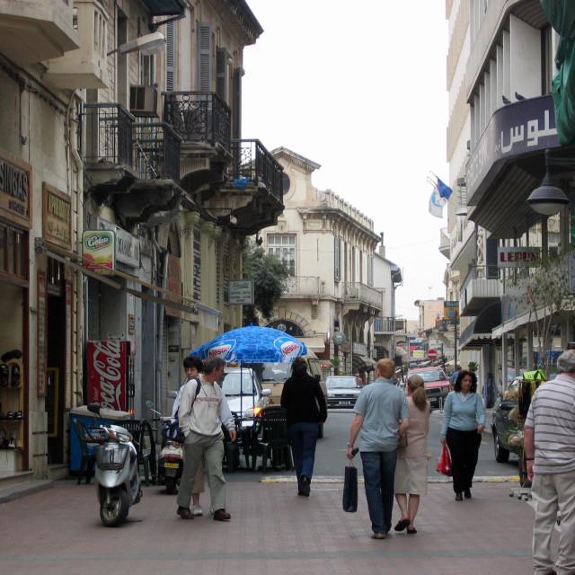 """GV View of a typical street in Limassol, Cyprus Picture Julian Brown"" stock image"