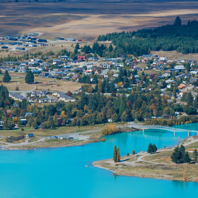 """""""Aerial view of Lake Tekapo from Mount John Observatory in Canterbury"""" stock image"""