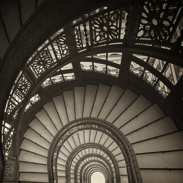 """""""The Time Tunnel: Rookery Staircase in Chicago"""" stock image"""