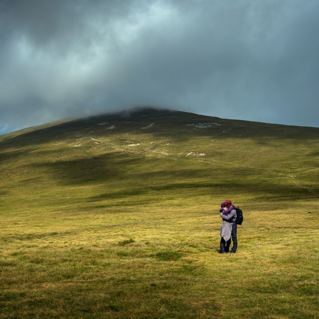 """""""Young couple of hikers"""" stock image"""