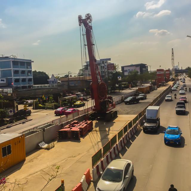 """Under construction of MRT orange line sky train. The Orange Line is a..."" stock image"