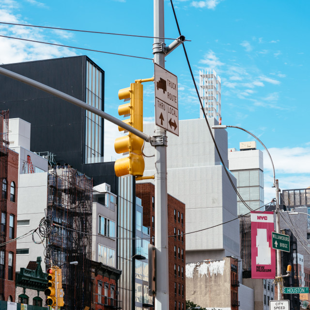 """""""Street view of Bowery in East Village of New York City"""" stock image"""