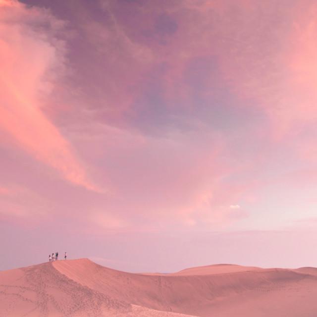 """Pink desert sunsets"" stock image"