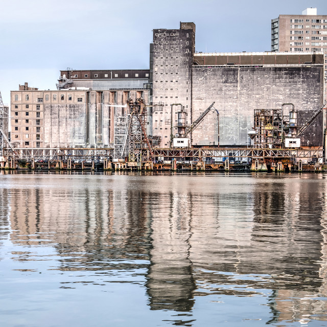 """Former grain silo reflecting"" stock image"