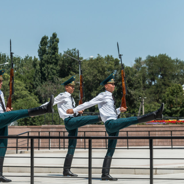 """""""Changing of the Guard ceremony in Ala Too Square, Bishkek, Kyrgyzstan"""" stock image"""
