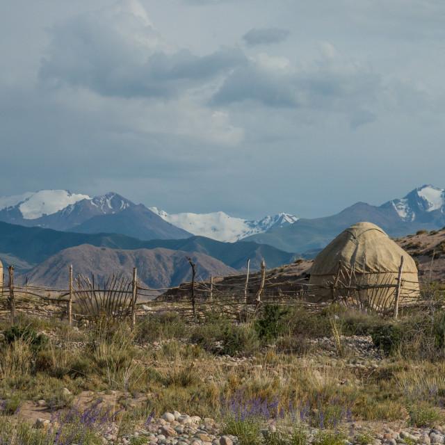 """Traditional Kyrgyz yurts near Bokonbayevo, Kyrgyzstan"" stock image"