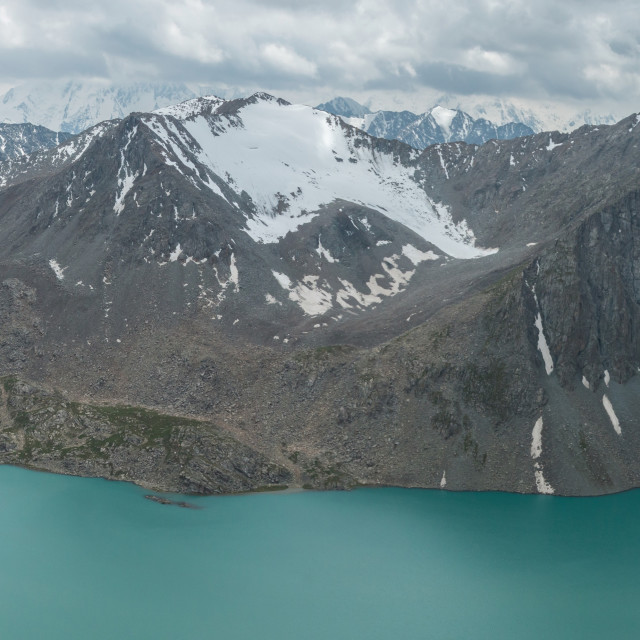 """Panorama of Lake Alakol, near Karakol, Kyrgyzstan"" stock image"