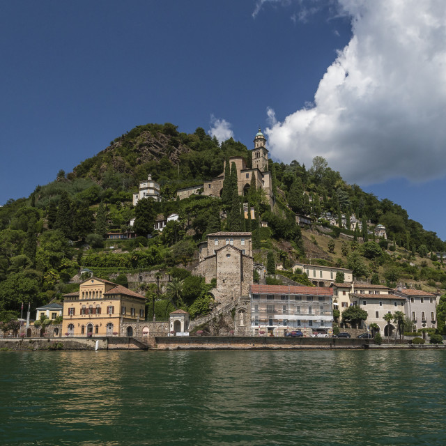 """Morcote from the lake side"" stock image"