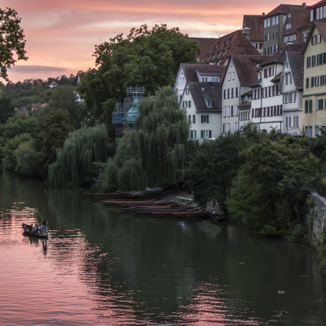 """Sunset on the River Neckar in Tubingen"" stock image"