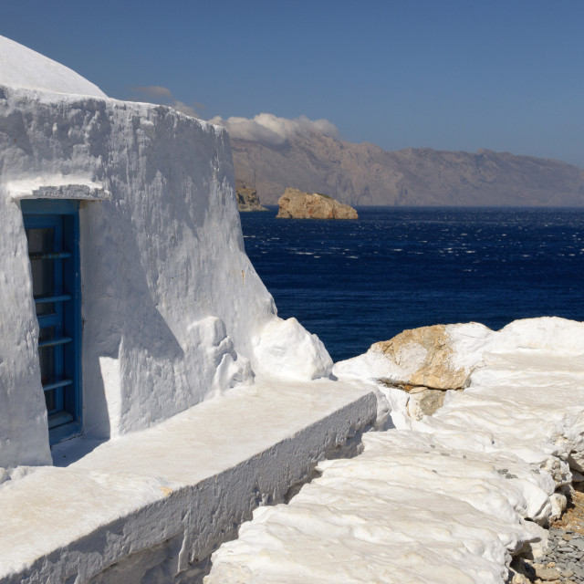 """""""View from Agia Anna in Amorgos island"""" stock image"""
