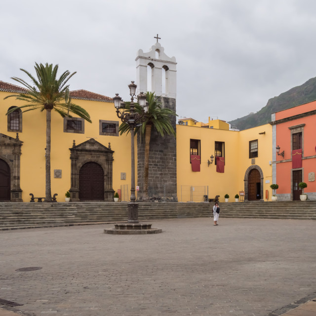 """""""Garachico town square with the facade of a former convent"""" stock image"""