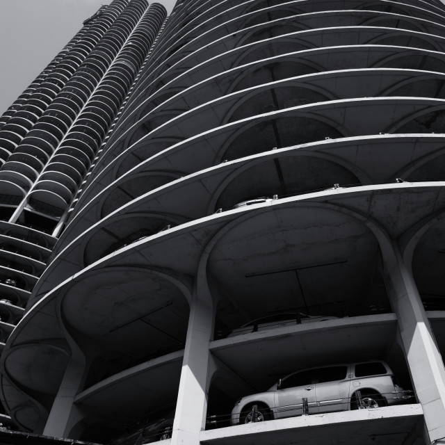 """""""Parking by Design: Marina City, Chicago"""" stock image"""