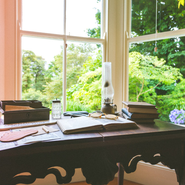 """Workplace with garden views"" stock image"