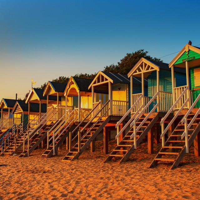 """Beach Huts at Wells"" stock image"