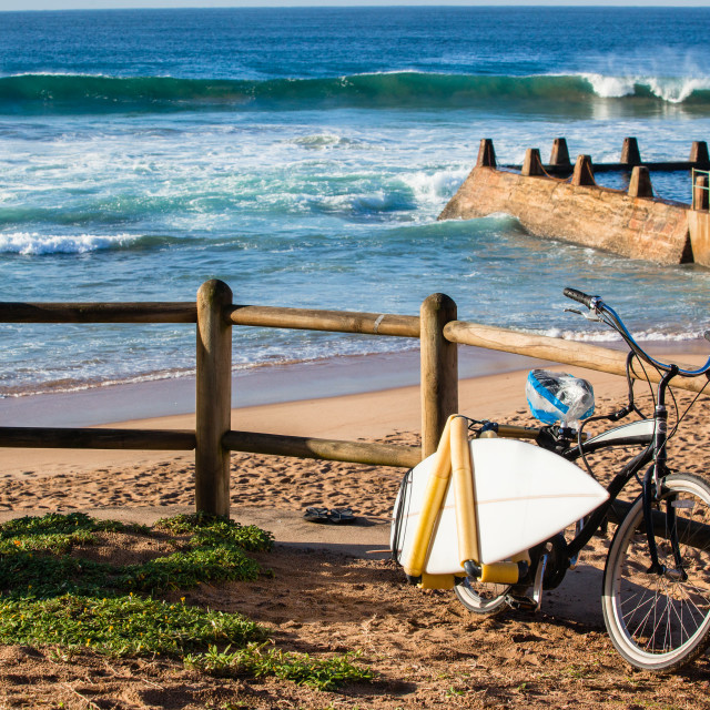 """""""Gone Surfing Bicycle Beach Waves"""" stock image"""