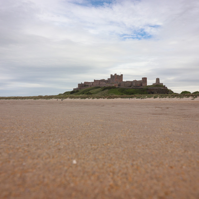 """Bamburgh Castle Over the Beach"" stock image"