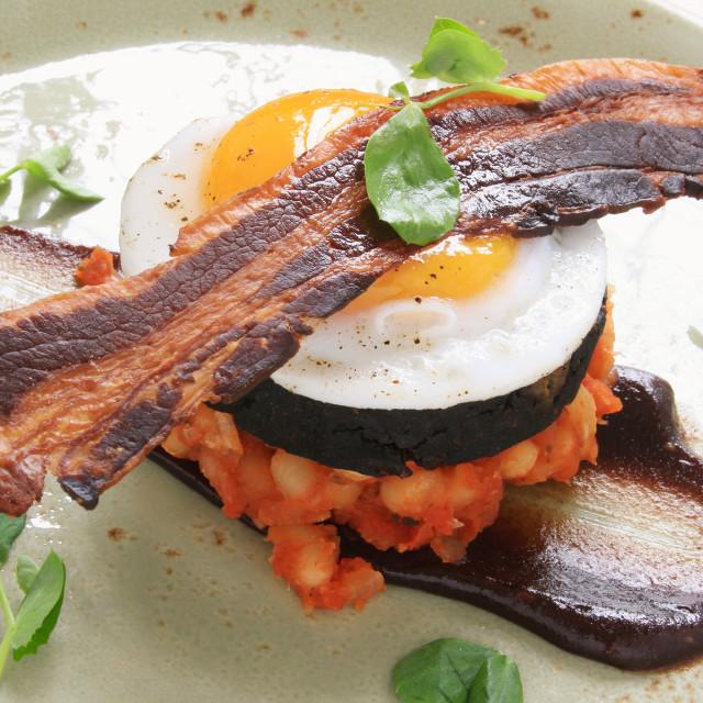 """preparing gourmet cooked engish breakfast"" stock image"