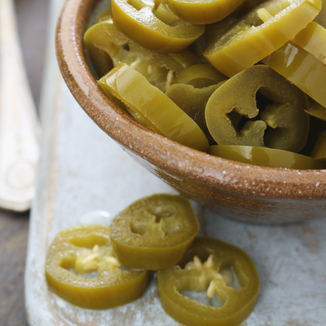 """pickled jalapeno chillie peppers"" stock image"
