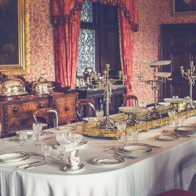 """Victorian prepared table"" stock image"