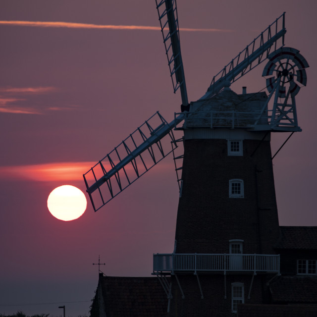"""Cley windmill at sunrise"" stock image"