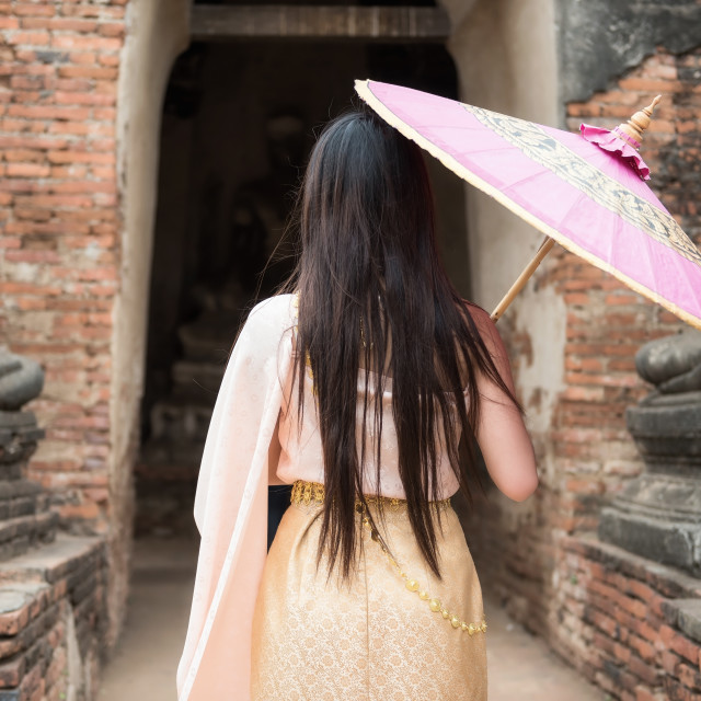 """""""woman with ancient Thai dress in Ayutthaya"""" stock image"""