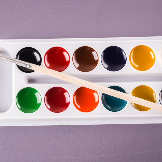 """""""Watercolors and brushes. Accessories for drawing."""" stock image"""
